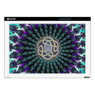 "Radiating Fractal Mandala Grunge Celtic Knot 17"" Laptop Decal"
