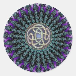 Radiating Fractal Mandala Grunge Celtic Knot Classic Round Sticker