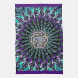 Radiating Fractal Mandala Grunge Celtic Knot Kitchen Towel