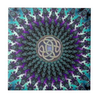 Radiating Fractal Mandala Grunge Celtic Knot Tile