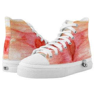 Radiating Heart Hi Top Printed Shoes