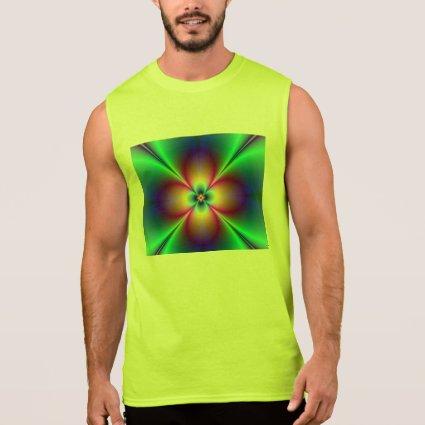 Radiating Neon Floral Fractal Sleeveless Shirts