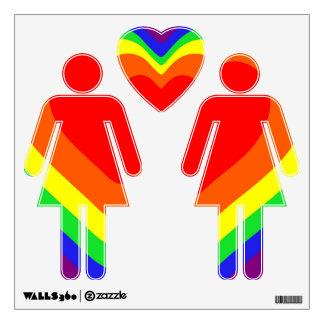 Radiating Rainbow Heart Wall Decal