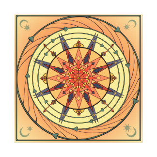 Radiating Sun Vintage Art Mandala Canvas Print