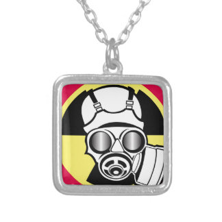 Radiation Symbol Gas Mask Silver Plated Necklace