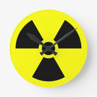 Radiation Trefoil Symbol Round Clock