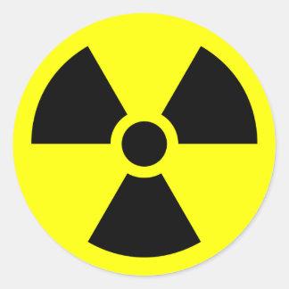 RADIATION WARNING ROUND STICKER