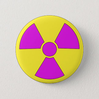 Radiation warning sign magenta and yellow button
