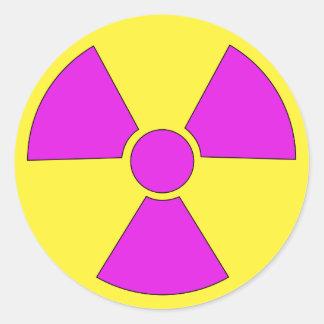 Radiation warning sign magenta and yellow classic round sticker
