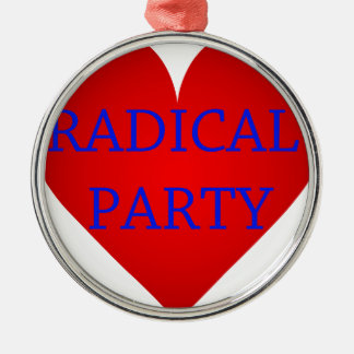 Radical Party Silver-Colored Round Decoration