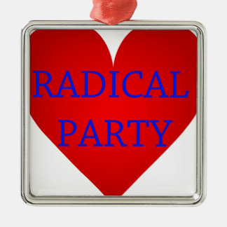 Radical Party Silver-Colored Square Decoration