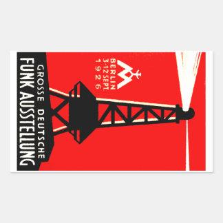 Radio 1926 + Poster de la difusión Pegatina Rectangular