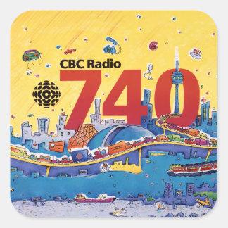 Radio 740 - del CBC gráfico el an o 80 del promo Pegatina Cuadrada