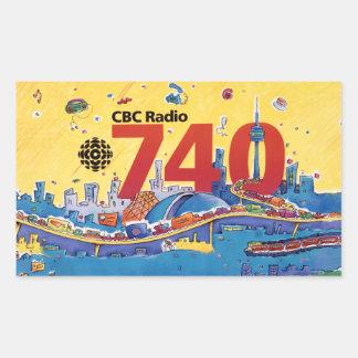 Radio 740 - del CBC gráfico el an o 80 del promo Pegatina Rectangular