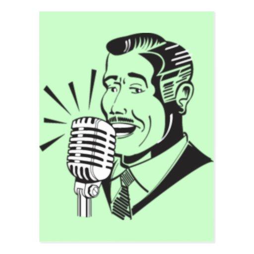 Radio Announcer Postcard