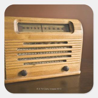 Radio antigua pegatina cuadrada