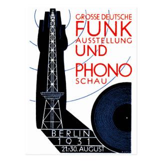 Radio de 1931 alemanes y expo de la música tarjetas postales