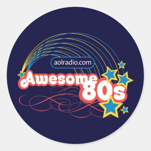 Radio de AOL - años 80 impresionantes Pegatina Redonda