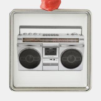 Radio de Boombox de la escuela vieja Adorno Cuadrado Plateado