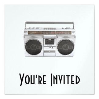 """Radio de Boombox de la escuela vieja Invitación 5.25"""" X 5.25"""""""