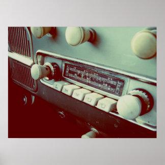 radio de coche vieja póster