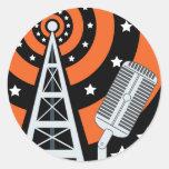 Radio de difusión pegatina redonda