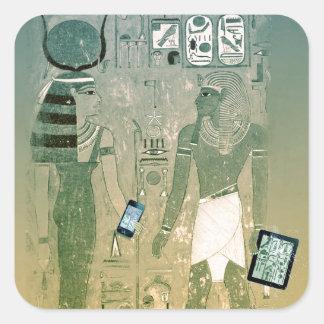 Radio de Egipto antiguo Pegatina Cuadrada