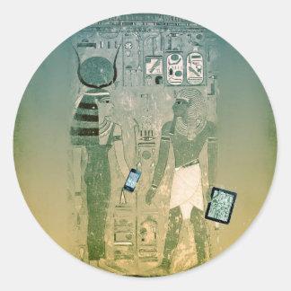 Radio de Egipto antiguo Pegatina Redonda