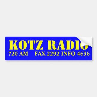 RADIO DE KOTZ, FAX 2292    INFO 4636 DE 720 ETIQUETA DE PARACHOQUE