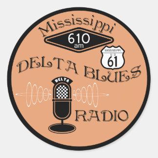 Radio de los azules del delta de Mississippi Pegatina Redonda