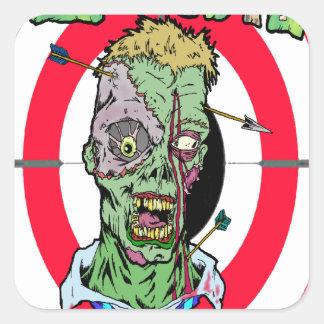 Radio de tiro del zombi pegatina cuadrada