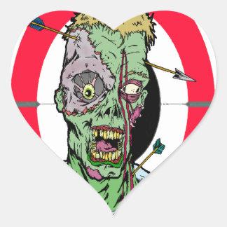 Radio de tiro del zombi pegatina en forma de corazón