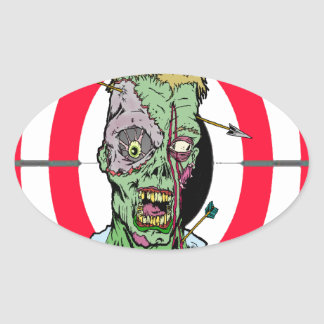 Radio de tiro del zombi pegatina ovalada