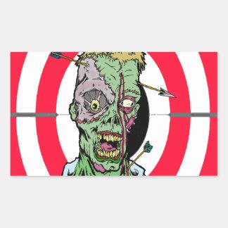 Radio de tiro del zombi pegatina rectangular