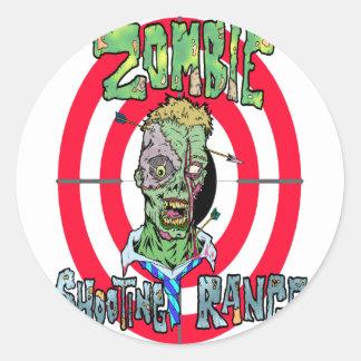 Radio de tiro del zombi pegatina redonda
