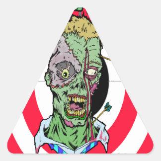 Radio de tiro del zombi pegatina triangular