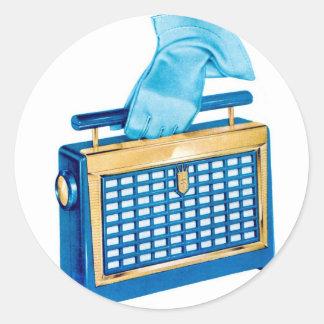 Radio de transistor portátil del kitsch retro del pegatina redonda