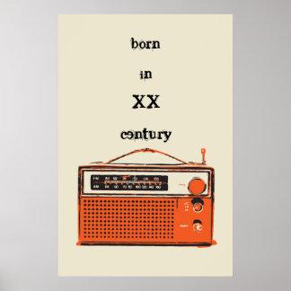 radio de transistor retra póster