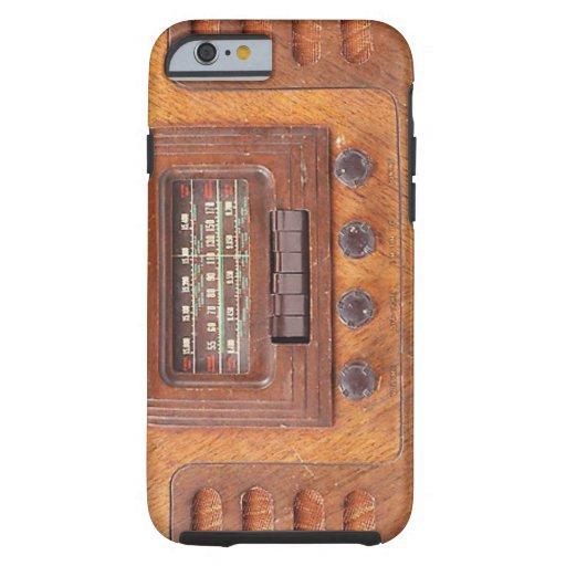 Radio de Woodenl del vintage Funda De iPhone 6 Tough