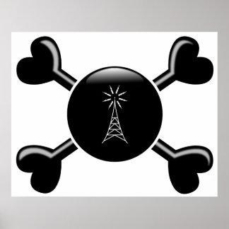 Radio del aficionado de la bandera pirata impresiones
