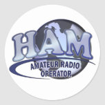 Radio del aficionado del LOGOTIPO del MUNDO del Pegatina Redonda