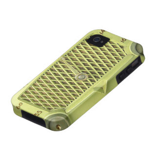 Radio del metal amarillo del vintage iPhone 4/4S funda