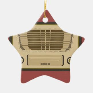 Radio del vintage adorno navideño de cerámica en forma de estrella
