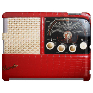 Radio del vintage en el rojo - caso del iPad