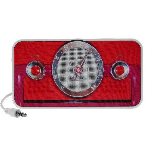 Radio del vintage - rojo mp3 altavoces