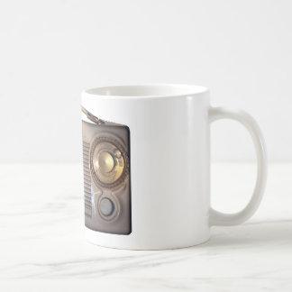Radio del vintage taza básica blanca