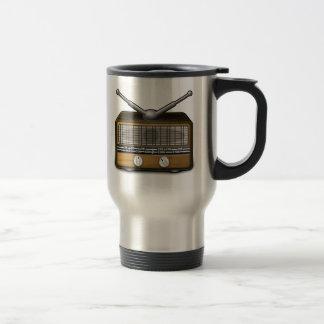 Radio del vintage taza de viaje de acero inoxidable