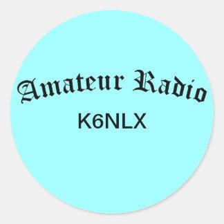 Radio e indicativo aficionados pegatina redonda