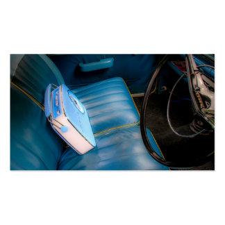 Radio en tarjetas de visita de cuero azules de los