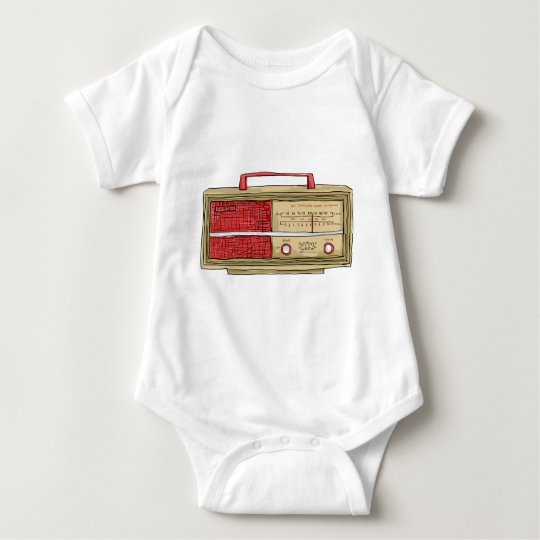 radio hand drawn baby bodysuit